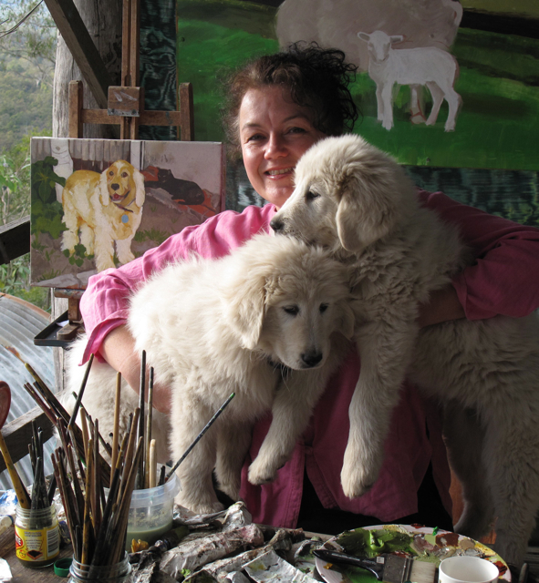 The Pet Painter with puppies Freya and Rosamond